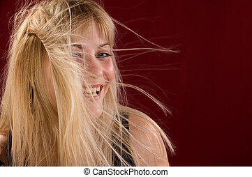 Glamour portrait - Portrait glamour blondie woman, her hair...