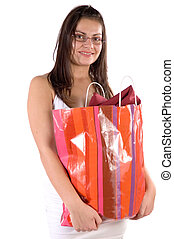 Shoping - Young woman with her bag have went back from...