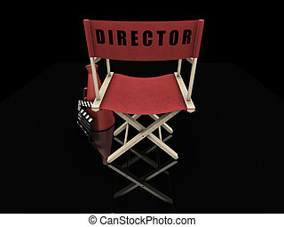 Movie items - 3D render of a directors chair and movie items