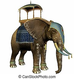 Elephant with Howdah - 3D Render