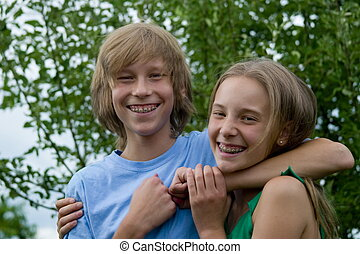 Happy teens - Sister and brother
