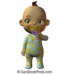 Toon Baby with Dummy - 3D Render