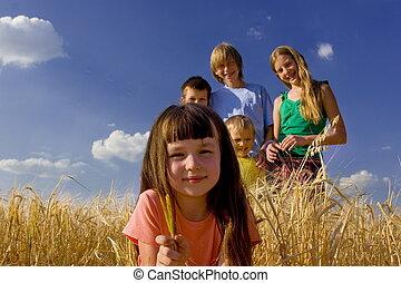 Happy family - Smiling children in ceral