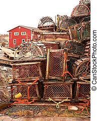 piled lobster traps - Lobster season open