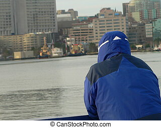 ferry passenger - cold ferry rider in Halifax