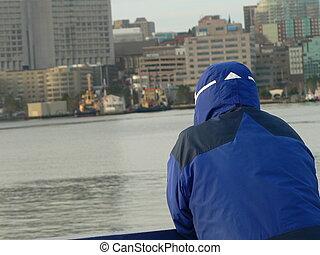 ferry passenger - cold ferry rider in Halifax