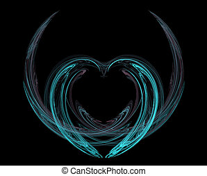 Flight of Heart - A blue heart with wings on black