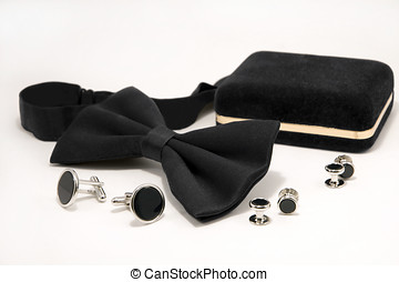 Bow tie and onyx cufflinks