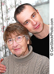 Mother and son - Portrait of a retired mother and her son