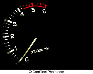 Engine speed meter on a black background