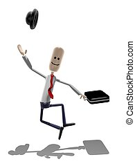 Happy Businessman - Cartoon style businessman leaping with...