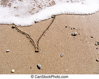 Heart on sand - The inscription on sea sand as heart washes...