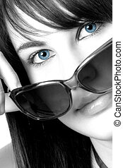 Blues - Black and white photo of a girl with blue eyes and...