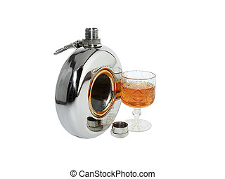 Flask - The wine-glass with a drink costs near an open flask...