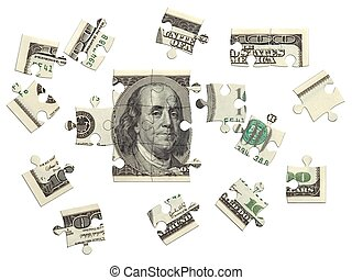 Dollar puzzle 3D II - 100 dollar bill, incomplete puzzle, 3D...