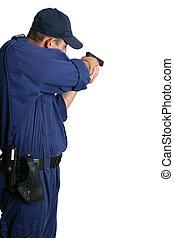 Seguridad, oficial, Apuntar, arma de fuego