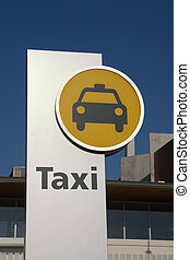 Taxi stand sign - A modern taxi stand sign in Barcelona