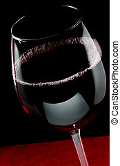 Wine Glass - Red wine with dark background and highlights