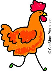 chicken - a simple farm chicken drawn in toddler art style