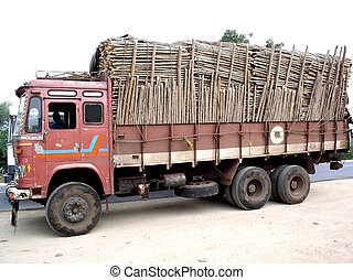 Truck carrying load