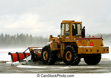 Snow Plow 2 - Snow plow hard at work removing snow at...