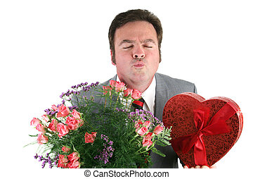 Valentine Guy - Kiss Me - A man holding Valentines candy and...