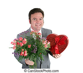 Hearts & Flowers - A smiling man holding roses and...