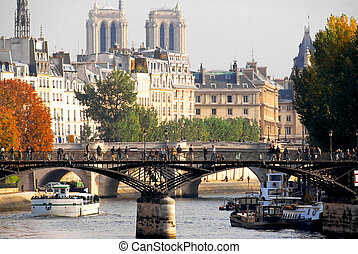 Paris Seine - Stone bridges over Seine in Paris France