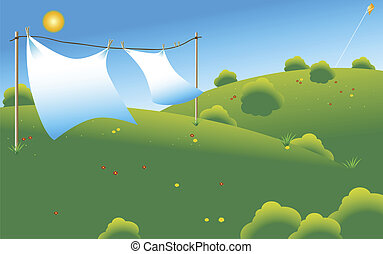 drying sheets - couple of linen sheets drying under sun at a...