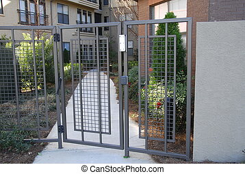 Secure Entry - Steel Security gate with electronic touch pad...