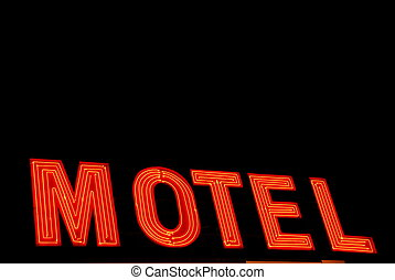 Motel - Neon motel sign in the dark of the night
