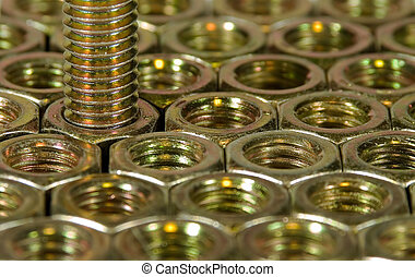 Hex Nuts and Bolt - Hex nuts and bolt showing threads close...