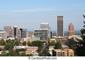 Portland skyline - Downtown Portland Oregon, daylight,...