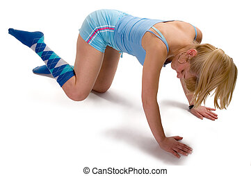 Aerobic - Young blonde girl doing morning aerobic exercise