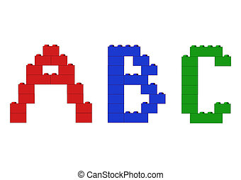Alphabet letters - Funny alphabet letters made of blocks,...