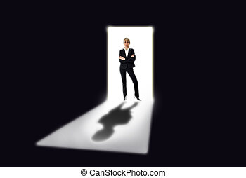women - business women standing by the open door concept