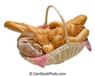 Basket of bread - Breads and rolls in a wicker basket...