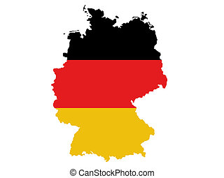 Germany map - Republic of Germany map and flag illustration