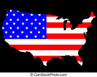 map of USA and flag illustration