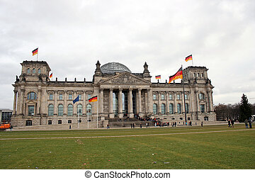 Reichstag - Berlin, Germany. Field with nice and green grass