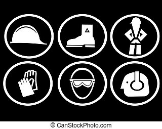 construction site safety symbols hat boots harness gloves...