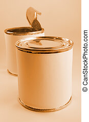 Tin cans with empty labels for your design