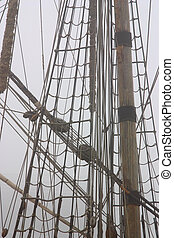 Mast and cordage of sailing-ship