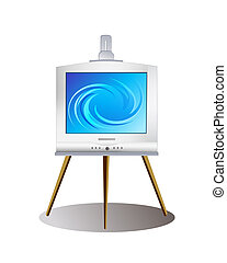 Digital Art illustration. Modern monitor on old-fashioned...