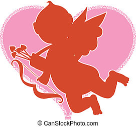 Cupid Silhouette - Red Silhouette of Cupid on a Pink Heart