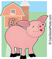 Baby Pig on a Farm - Cute little pig standing in front of a...