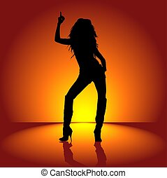 Dancing Girl 01 - illustration, silhouette