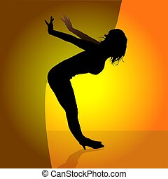 Dancing Girl 03 - illustration, silhouette