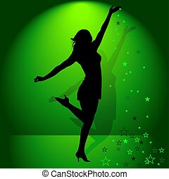 Dancing Girl 05 - illustration, silhouette