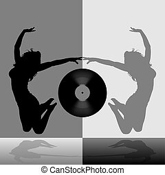 Dancing Girl 07 - illustration, silhouette